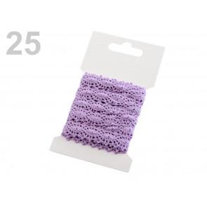 bombažni trak - videz čipke, 12 mm, vijola, 3 m