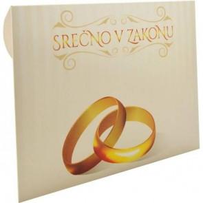 """kuverta za darilne bone """"Srečno v zakonu"""", 22x15.5 cm, 1 kos"""