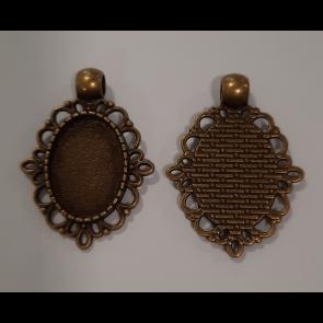 osnova za obesek - medaljon 33x24x6 mm, antik, brez niklja, 1 kos