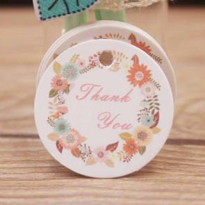 "kartonček z napisom ""Thank You"", bele barve, okrogel - premer 30 mm, 1 kos"