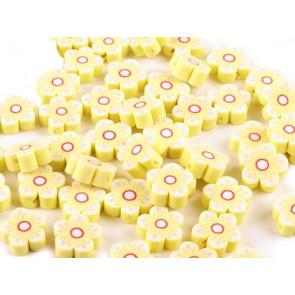 fimo perle, roža 15 mm, rumena, 1 kos
