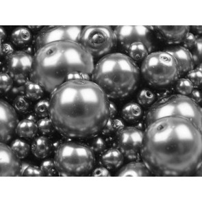 steklene perle - imitacija biserov, velikost: Ø4-12 mm, t. siva b., 50 g (ca.191 kos)