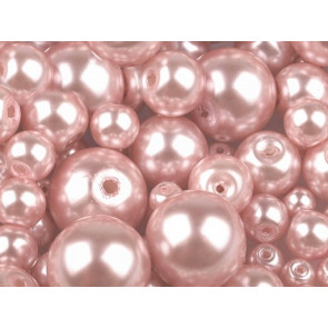 steklene perle - imitacija biserov,  velikost: Ø4-12 mm, puder-roza b., 50 g (ca.191 kos)