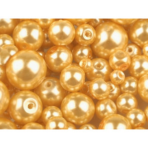 steklene perle - imitacija biserov, velikost: Ø4-12 mm, sv. zlate b., 50 g (ca.191 kos)