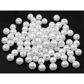 steklene perle - imitacija biserov, velikost: 6 mm, bela b., 50 g (ca.185 kos)