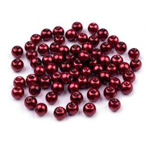 steklene perle - imitacija biserov, velikost: 6 mm, bordo rdeča b., 50 g (ca.185 kos)