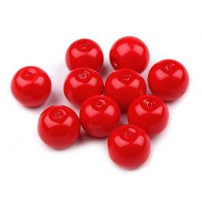 steklene perle - imitacija biserov, velikost: 10 mm, škrlatno rdeča b., 50 g (ca.80 kos)