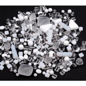 steklene perle - mix, bele, 50 g