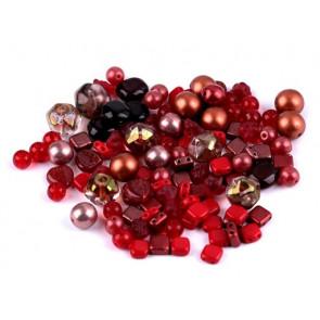 steklene perle - mix, sv. rdeče, 50 g