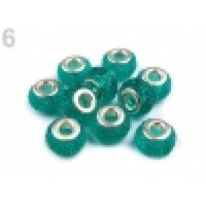 steklene perle z veliko luknjo 9x14 mm, turkizno modra, 1 kos