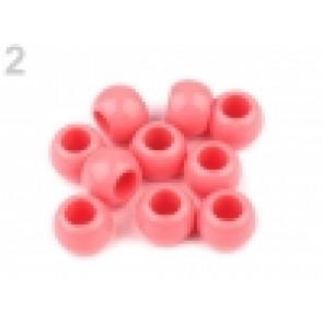 perle iz um. mase z veliko luknjo, 11 x 14 mm, roza, 1 kos