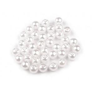 plastične perle - imitacija biserov, velikost: Ø6 mm, bele b., 50 g (ca. 300 kos)