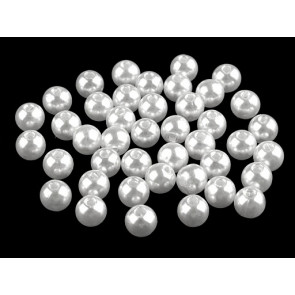 plastične perle - imitacija biserov, velikost: Ø8 mm, bele b., 50 g (ca. 200 kos)