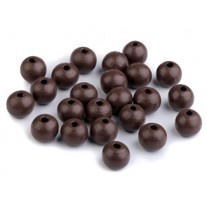 lesene perle okrogle 10 mm, t.rjave, 50 g (caa 175 kos)