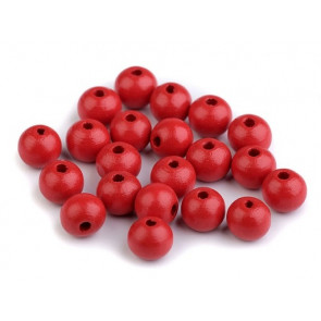 lesene perle okrogle 10 mm, rdeče, 50 g (caa 175 kos)