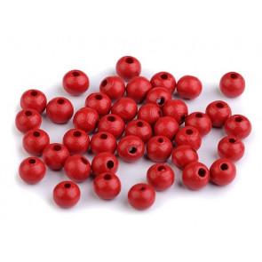 lesene perle okrogle 8 mm, rdeče, 50 g (caa 300 kos)