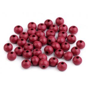 lesene perle okrogle 8 mm, bordo rdeče, 50 g (caa 300 kos)