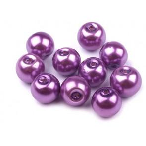steklene perle - imitacija biserov, velikost: 8 mm, vijolična b., 50 g (ca.74-78 kos)