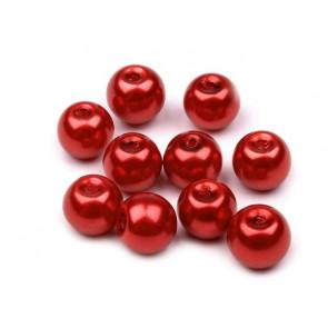 steklene perle - imitacija biserov, velikost: 8 mm, jagodno-rdeča b., 50 g (ca.74-78 kos)