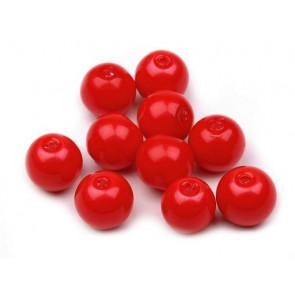 steklene perle - imitacija biserov, velikost: 8 mm, škrlatno-rdeča b., 50 g (ca.74-78 kos)