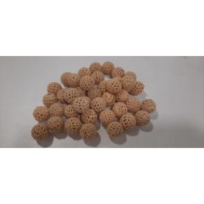 volnene-plastične perle, okrogle 16 mm, sv. rjava, 1 kos