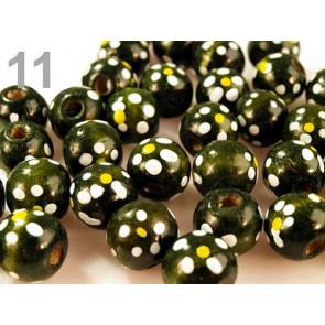 lesene perle, okrogle 1.6 cm, olivno zelene, 1 kos