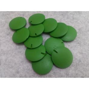lesene perle ploščate - okrogle 30 mm, zelene, 5 kos