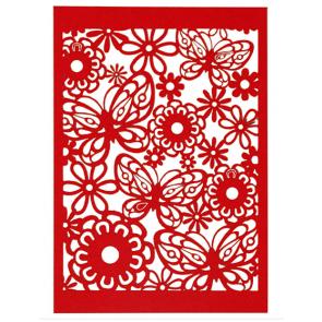 okrasni papir, čipka, 10,5x15 cm, 200 g, rdeča b., 1 kos