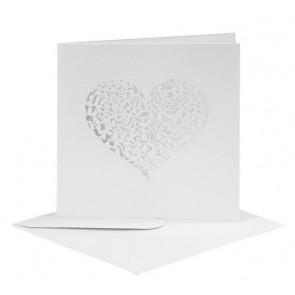 kuverta - biserni izgled, 14,5x14,5 cm, 110 g, bele b., 1 kos