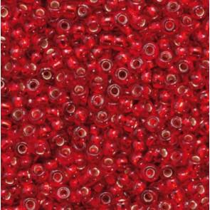 EFCO Steklene perle 2,6 mm, rdeče, prosojne s posrebreno luknjico, 17 g