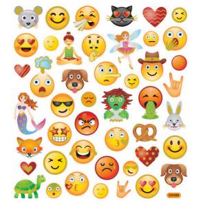 nalepke, 15x16,5 cm, motiv Emoji, samolepilne, 1 pola (46 nalepk)