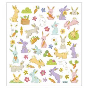 nalepke, 15x16,5 cm, motiv Velikonočni zajčki, samolepilne, 1 pola (50 nalepk)