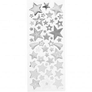 božične nalepke, 10x24 cm, samolepilne, zvezde srebrne, 1 pola