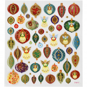 nalepke, božične kroglice in angelčki z bleščicami, 15x16.5 cm, 1 pola