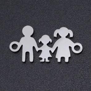obesek/vmesnik za nakit, oblika družina, 19x10x1 mm, luknja: 1.4 mm, nerjaveče jeklo, 1 kos
