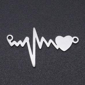 obesek/vmesnik za nakit, oblika srčnega utripa, 16x28.5x1 mm, nerjaveče jeklo, 1 kos