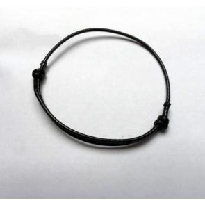 osnova za zapestnico - bombažna povoščena vrvica, nastavljiva, 40~70x1.5 mm, črna, 1 kos