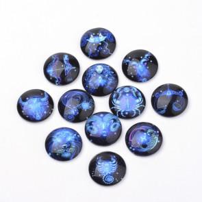 steklena kapljica 25x6 mm, vzorec ozvezdja, črno-modra b., 1 kos