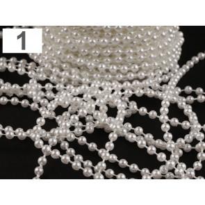 akrilne perle na vrvici, bele barve, 4 mm, 1 m