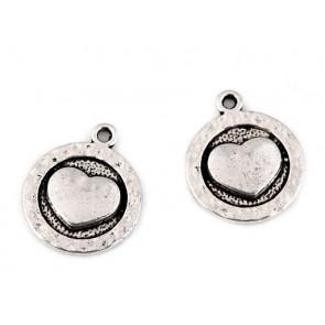 obesek za nakit, srce, platinaste b., 15 mm, 1 kos