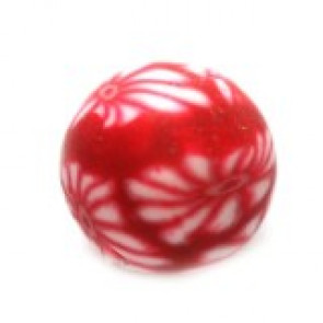 fimo perle okrogle 6 mm, rdeče, 5 kos