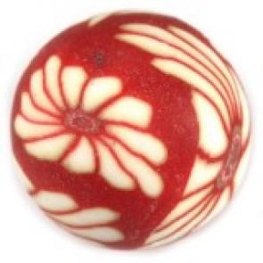 fimo perle okrogle 12 mm, rdeče, 5 kos