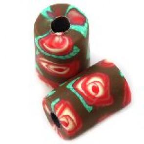 fimo perle tulci 7x11 mm, rjave, 5 kos