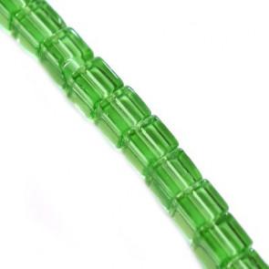 steklene perle, kocke 4 x 4 mm, zelene, 1 niz - 32 cm