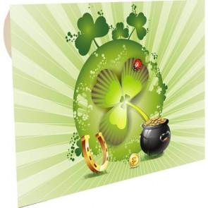 """kuverta za darilne bone zelena """"Detelja, podkev, lonec zlatnikov"""", 22x15.5 cm, 1 kos"""