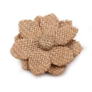 roža iz jute 6 cm, t. rjava, 1 kos