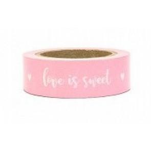 "Washi tape - dekorativni lepilni trak - roza z napisom ""Love is sweet"" širina: 1.5 cm, dolžina: 10 m, 1 kos"