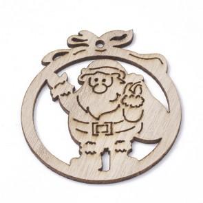 """leseni obesek - """"božiček"""", 71.5x63x2.5 mm, velikost luknje: 3 mm, naravne b., 1 kos"""