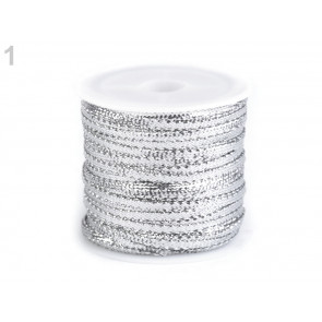dekorativni trak z lurexom, 3 mm, srebrne b., 1 m