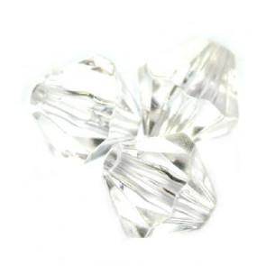 plastične perle, bikoni 10 mm, prozorni, 50 gr
